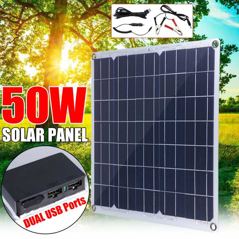 50W Solar Panel Solar Cell Cell Module DC for Car Yacht Led Light RV 12V Battery Boat Outdoor Charger 39.5X39cm