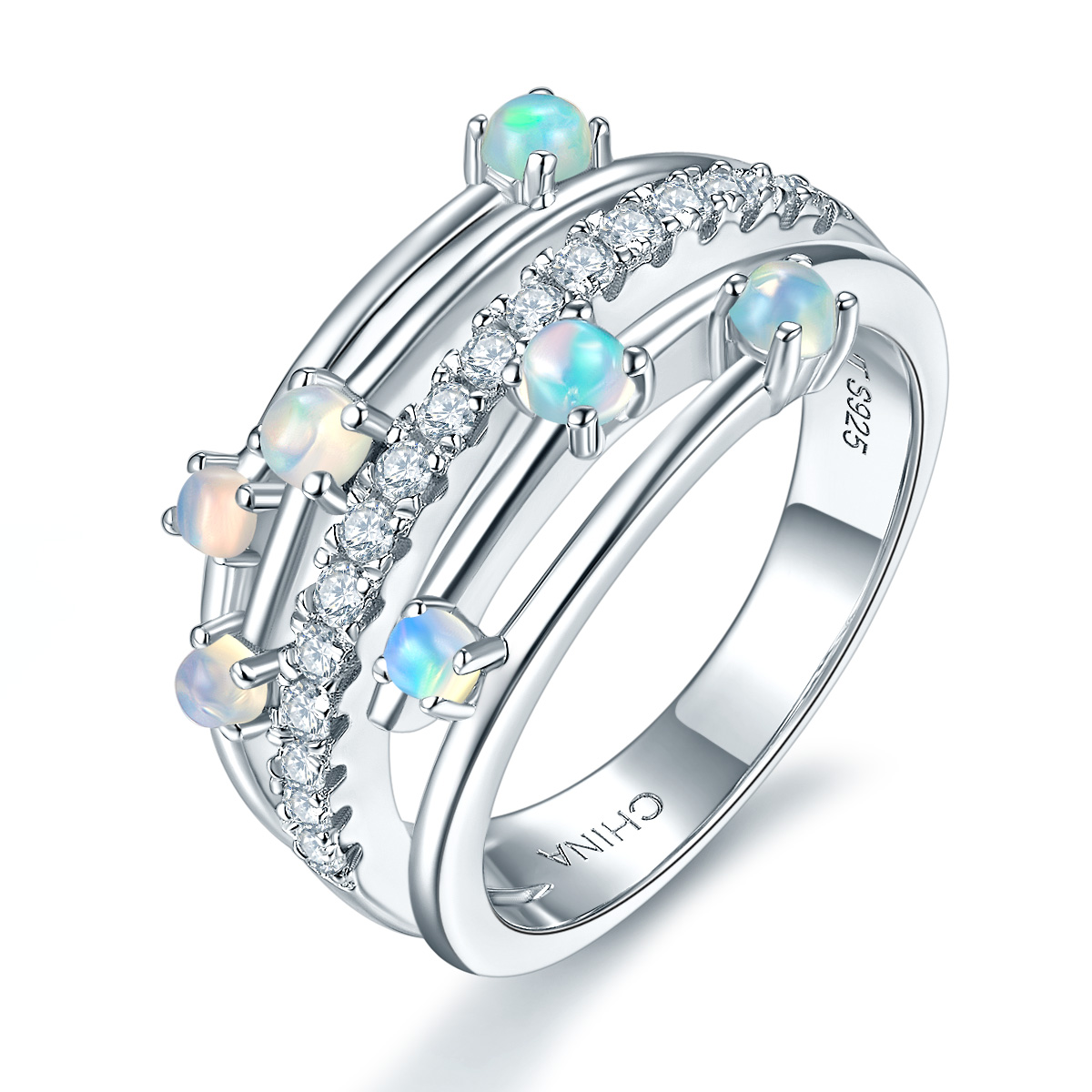 Hutang Natural Opal Ring Solid 925 Sterling Silver Gemstone Fine Brand Jewelry for Women Xmas Gift 2017 New Arrival