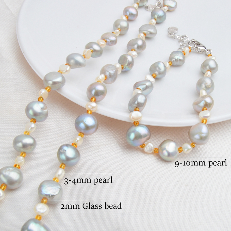 ASHIQI Natural Baroque pearl Jewelry Sets Real Freshwater Pearl Necklace Bracelet 925 Sterling Silver Earrings Women New Arrival