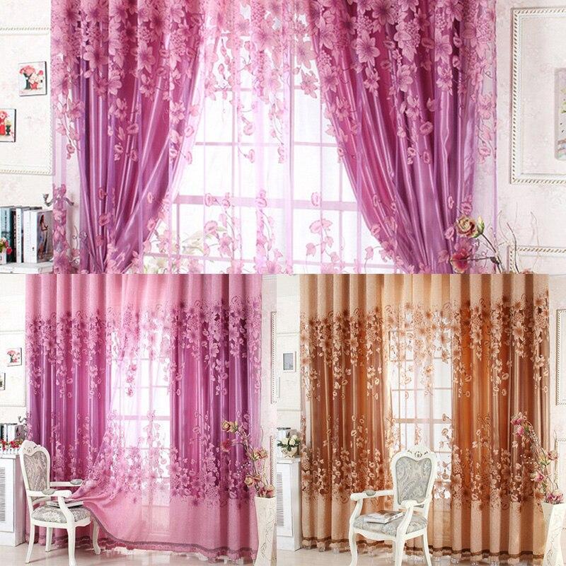 New Sheer Curtain Panel Drape Floral Window Balcony Room
