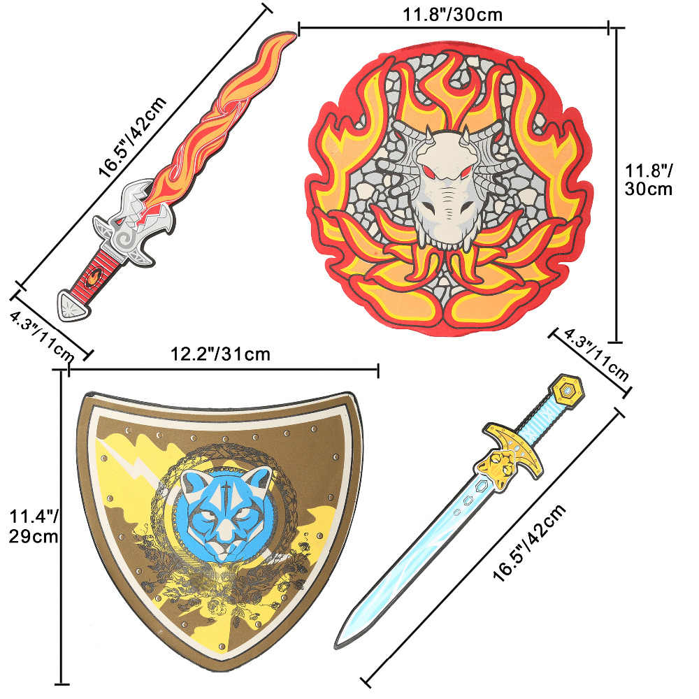 12 шт. безопасный меч из вспененного этилвинилацетата набор щитов Дракон пират воин оружие реквизит ролевые игры на открытом воз