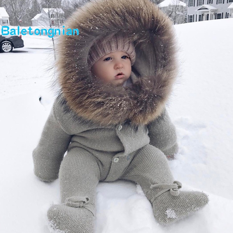 7db4e073294 Infant Baby Rompers Winter Clothes Newborn Baby Boy Girl Knitted Sweater  Jumpsuit Warm Fur Hooded Kid Toddler Outerwear R18