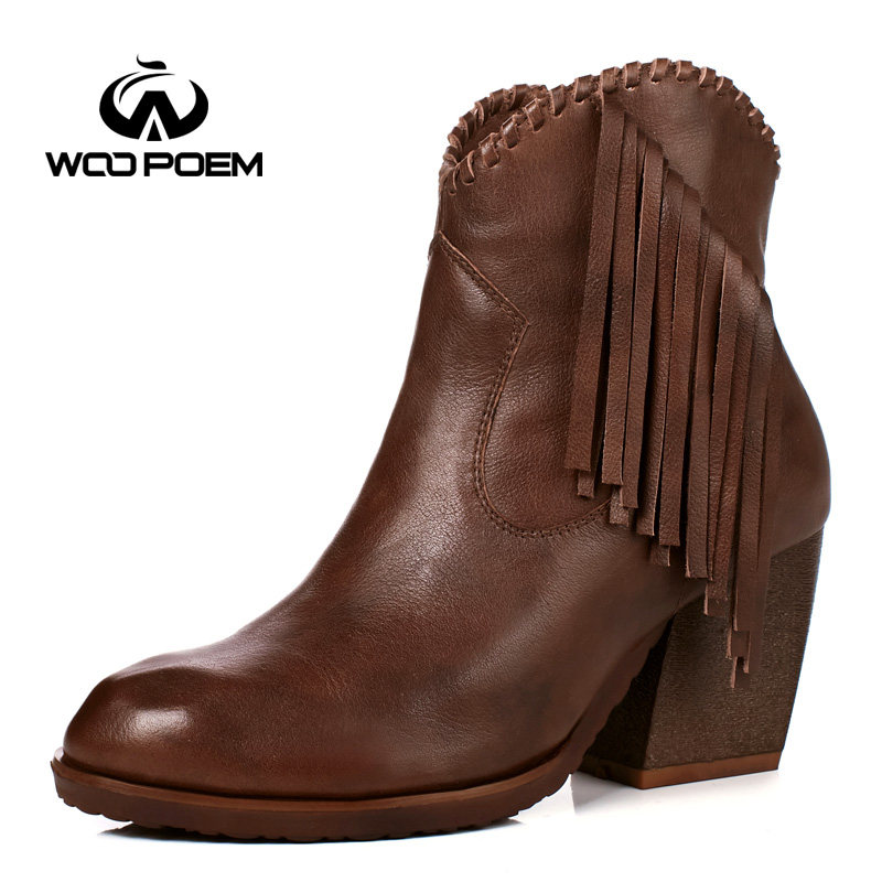 WooPoem Winter Shoes Woman Genuine Leather Boots High Heel Ankle Boots Fringe Classic Zip Retro Women Boots Winter Boots 186-5 woopoem brand winter shoes woman genuine leather boots low flat heel ankle boots rivet motorcycle boots retro women boots 510 l1