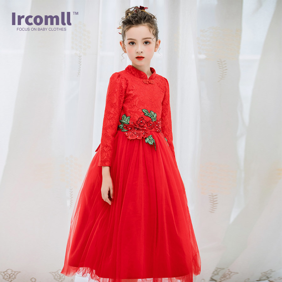 Ircomll New Top Quality Infant Dresses For Girls Chinese Style Long Sleeve Red Floral Embroidery Girl Party Dress Kids Clothing layered sleeve floral top