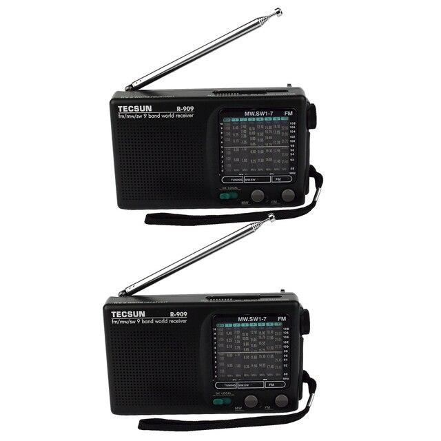 2 шт. Tecsun R-909 Радио FM/AM/SW Всемирный Оркестр Приемник Портативный Fm-радио DX/LOCAL Чувствительность рекордер Y4140A