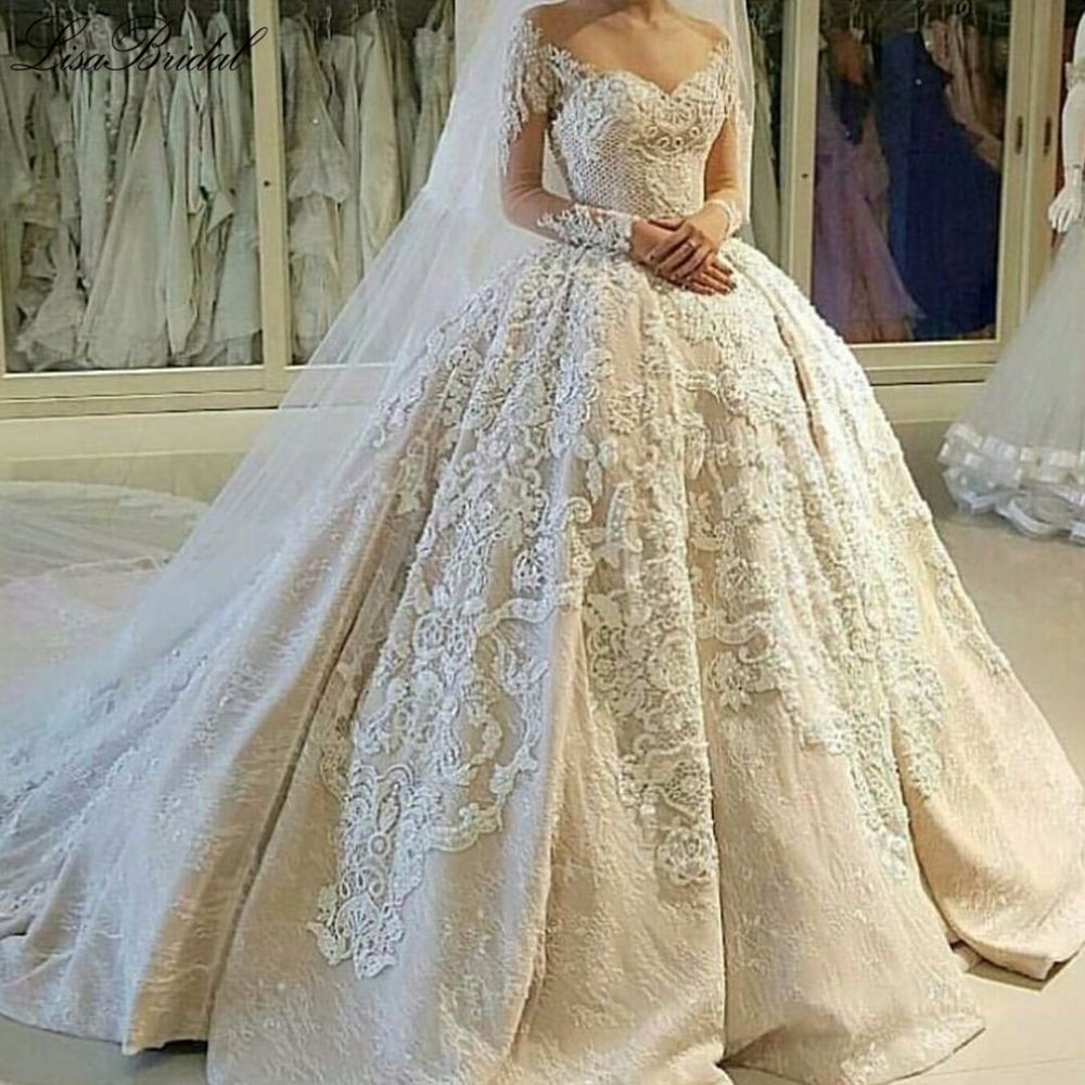 New arrival elegant long wedding dress 2017 o neck long for Elegant wedding dresses 2017