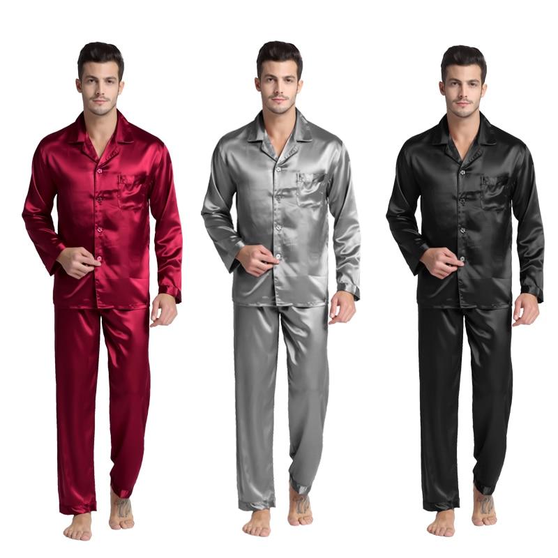 Tony & Candice männer Fleck Seide Pyjama Set Men Pyjamas Silk Nachtwäsche Männer Sexy Modernen Stil Weichen Gemütlichen Satin nachthemd Männer Sommer