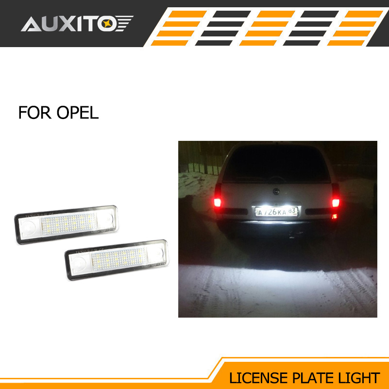 AUXITO 2PCS 6000K LED Light Number License Plate Lights lamps for OPEL astra G F Zafira A Corsa B Vectra B Omega A B 2pcs led number license plate light 12v white smd led canbus lamp bulb car styling for opel astra g corsa a b vectra b tigra