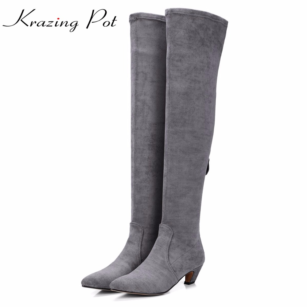 Krazing Pot flannel zipper high street fashion pointed toe superstar thigh high stretch boots European over-the-knee boots L75 krazing pot flannel stretch boots winter keep warm wedges high heels leisure long legs beauty fashion over the knee boots l31