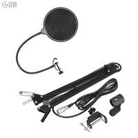 Desktop Studio Recording Mic Microphone Stand Suspension Boom Scissor Arm Holder Adjustable With Clamp Pop Filter