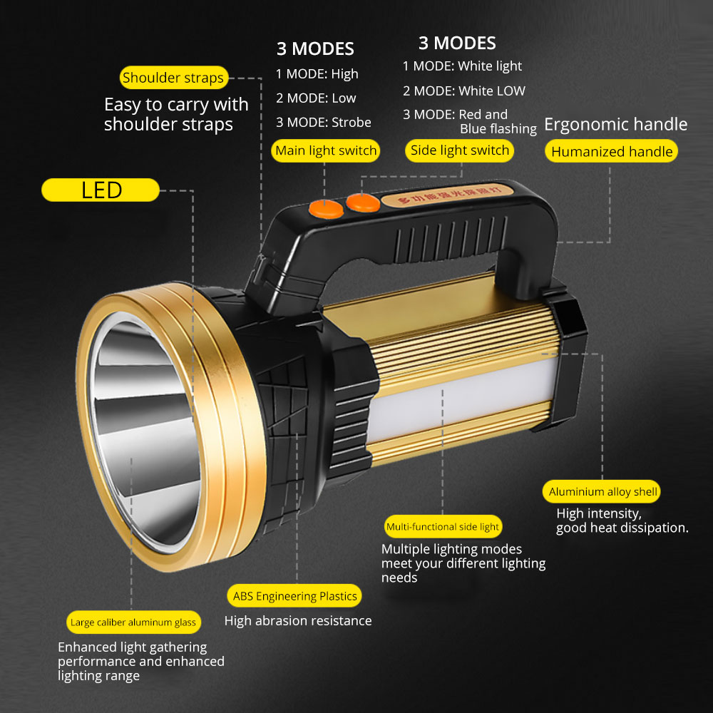 4000lumens Newest Built-in 7200mAh LED Flashlight Handed Spotlight Portable USB Charging 3Modes Searchlight With Side red light