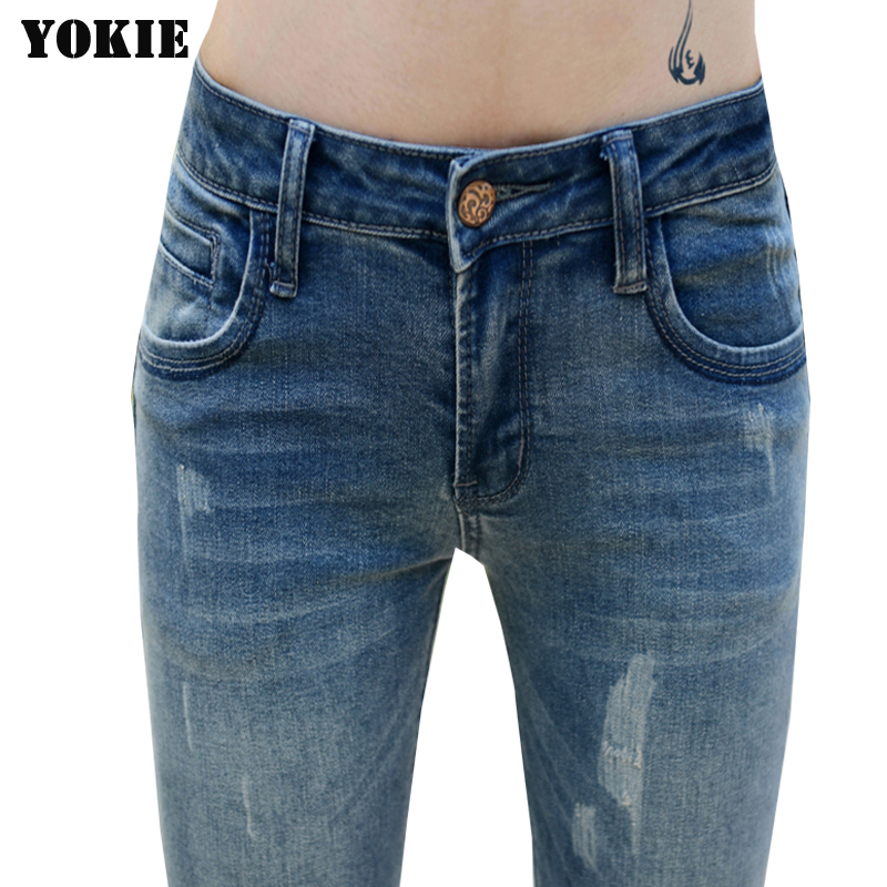 guoran high waist denim woman pants jean femme female
