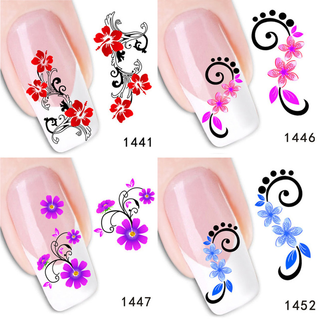 AddFavor 2PCS Colorful Flower Nail Art Sticker Water Transfer Nail ...