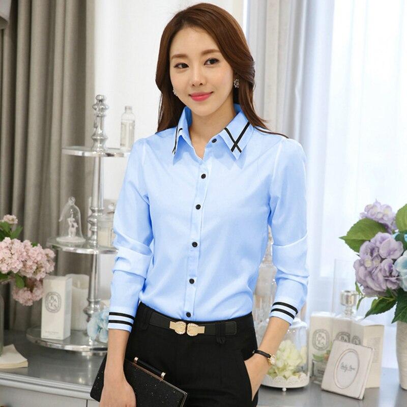 2019 Novo OL Desgaste do Trabalho Branco Azul Blusa Plus Size Manga Comprida Turn-down Collar Senhoras Elegantes Formais Feminino camisa Das Senhoras Tops