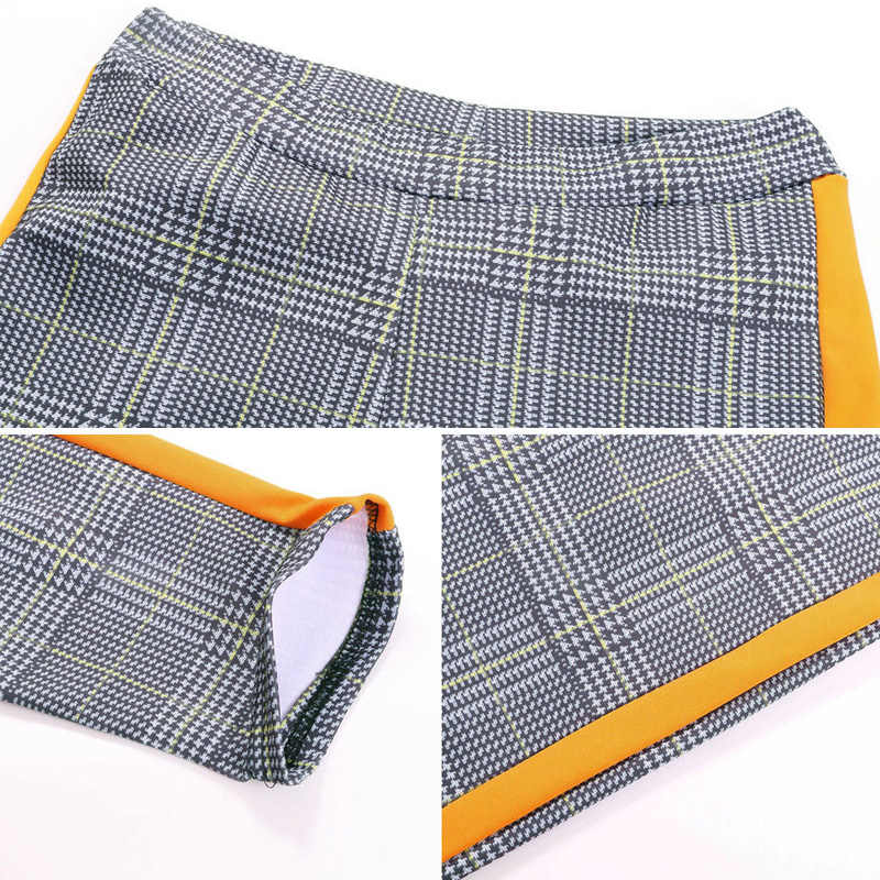 נשים מכנסיים למתוח גבוהה מותן ישר נשי מכנסי עיפרון משובץ רטרו צדדי פס גבירותיי מכנסי טרנינג אלסטי מחודד Capris