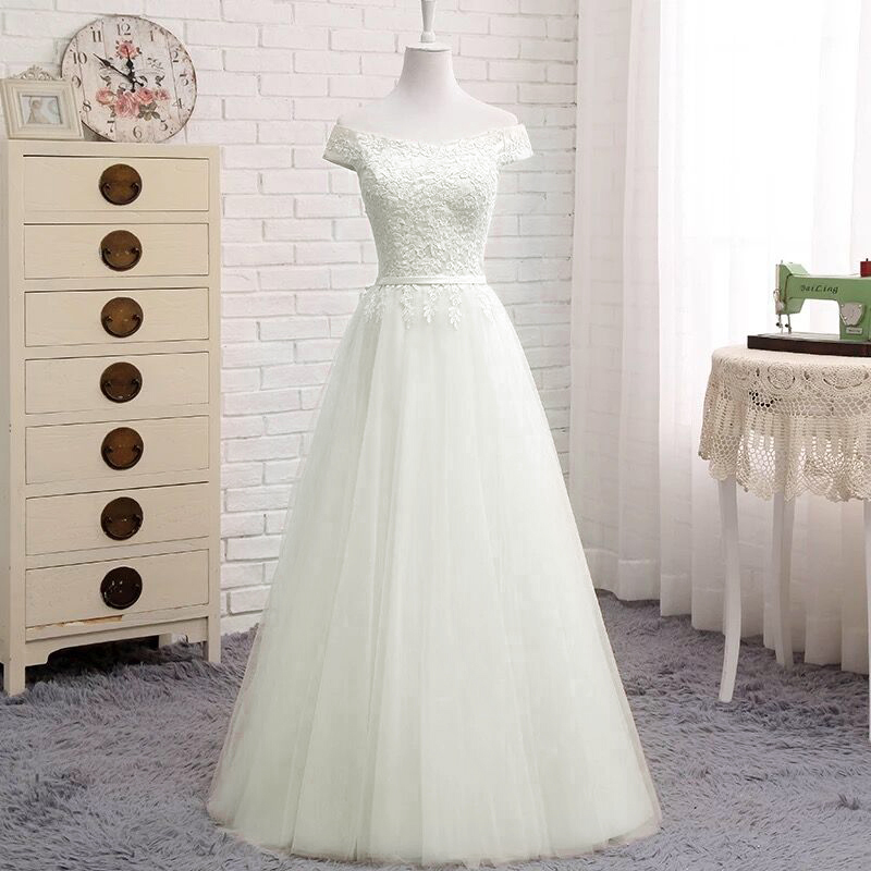 2019 New Design A line Tulle Lace Long Formal Elegant Simple Wedding Dresses Bridal Gown SV07