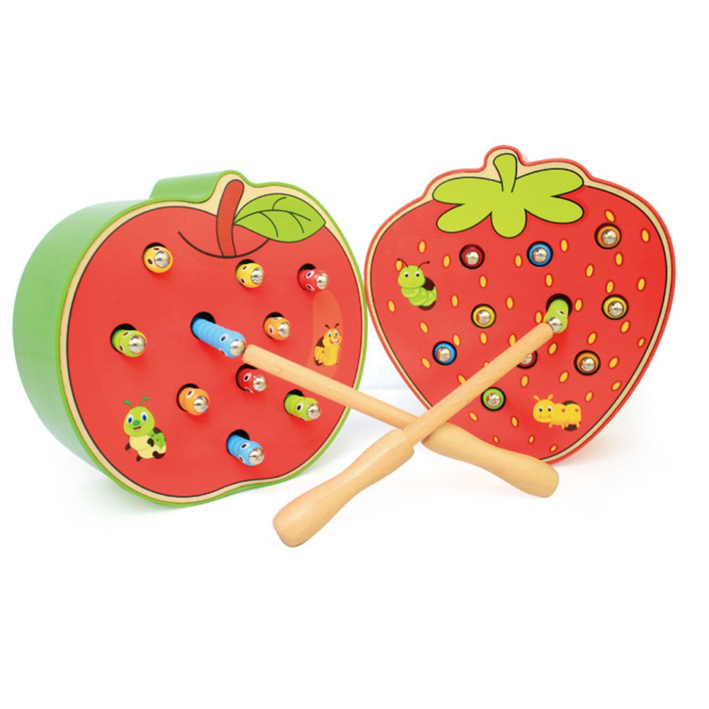 Wooden Catch Worms Games With Magnetic Stick Catch Creature Caterpillar Montessori Educational Magnetic Strawberry Apple Shape
