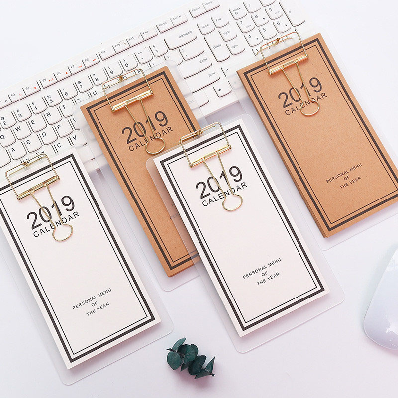 Calendar 2019 New Year Calendar 2019 Fashion Simple Lovely Mini Table Calendars Vintage Kraft Paper Desk Calendar Office School Supply