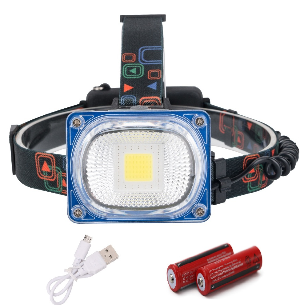 USB Rechargeable Headlight COB LED Headlamp 3 Modes Head Torch Flashlight For Camping Use 2*18650 Batteries pvc camping flashlight torch linternas 2 modes led flashlight with bottom magnet and hook use 4 aaa batteries