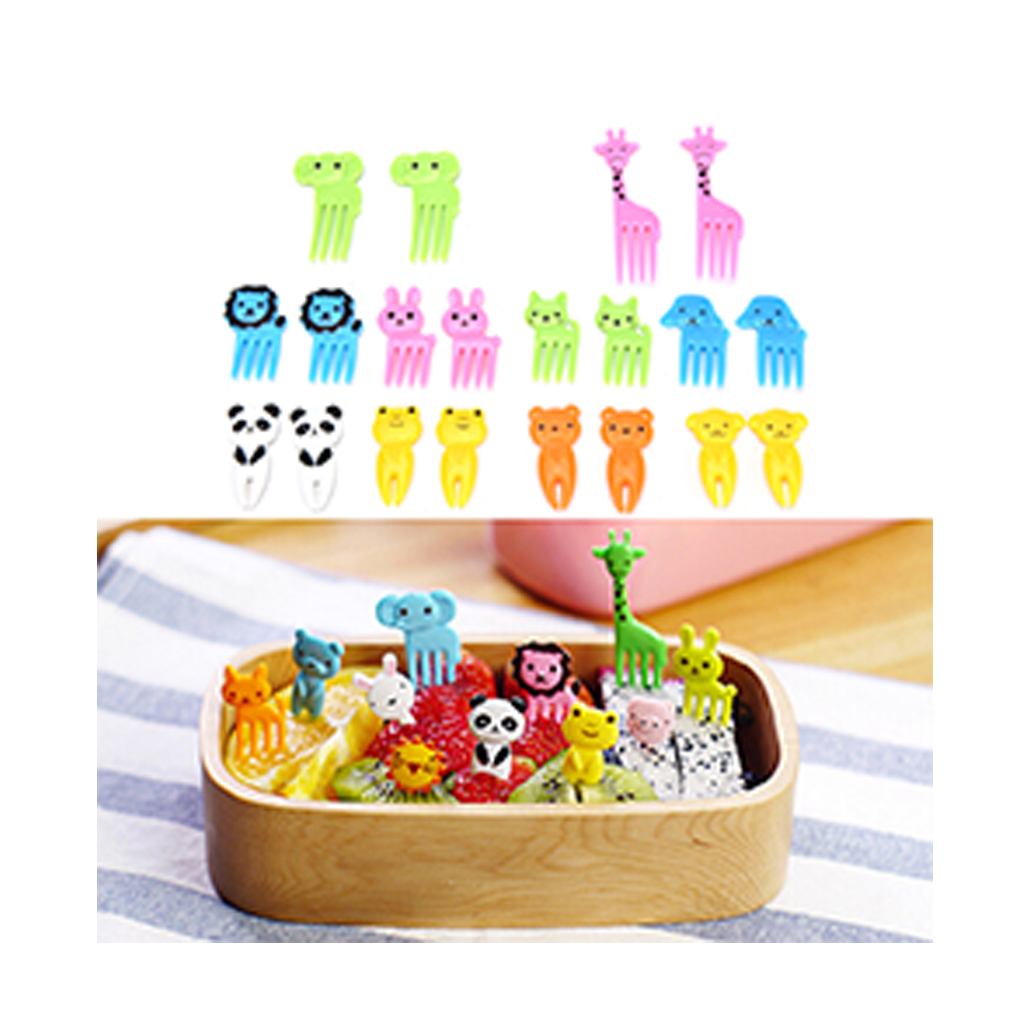10pcs/set Cartoon Expression Fruit Fork Plastic Fruit Toothpick Children Kids Eating Cutlery Baby Flatware Accessories Baby Care