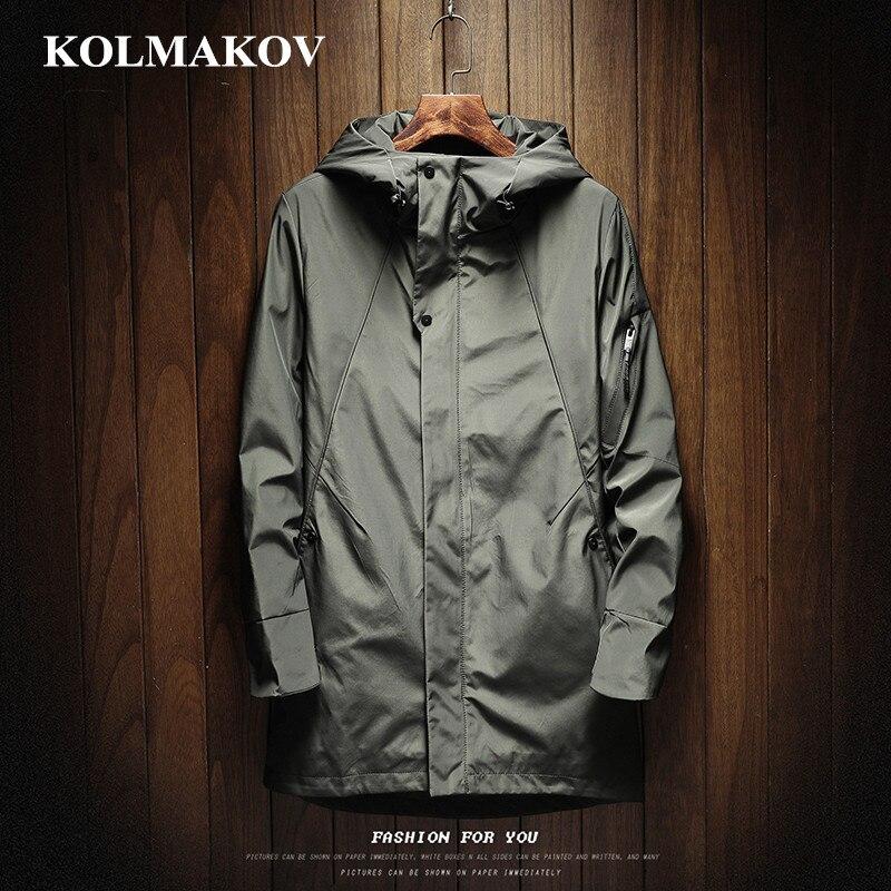 KOLMAKOV New Men's Clothing Mens Windbreakers 2019 Spring Trench Coats Homme Casual Coat Men M-3XL Hooded Outerwear Male M-3XL