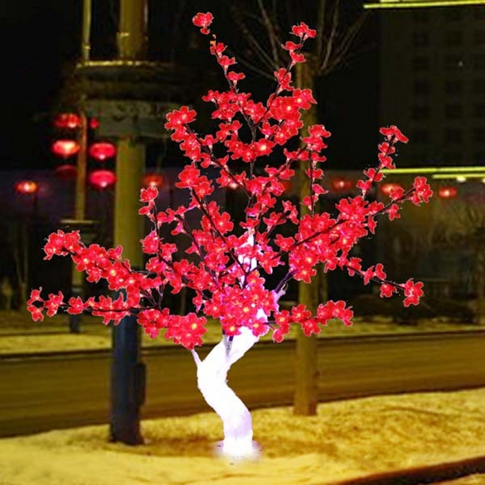 Outdoor Waterproof Artificial 1.2M 4FT Led Cherry Blossom Tree 240LEDs Red Christmas Tree Light for Home Festival Decoration new arrival christmas yellow home decoration lamp 48 led plum blossom desk top bonsai tree light 52cm height drop shipping