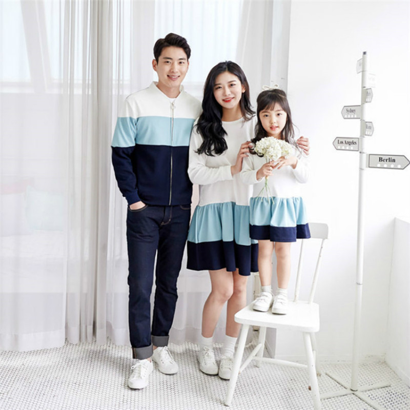 Autumn Winter Family Matching Clothes Outfits Mother Daughter Long Sleeve Hit Color Dresses Dad Kids Jacket Family Look Outwear