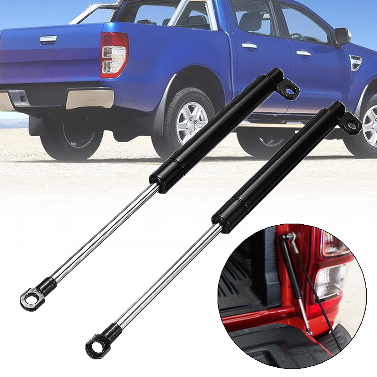 No Drilling Required 1 Pair Rear Tailgate Slow Down & Easy Up Strut Kit for Ford PX Ranger 2011 2017 Easy Install Anti breaking