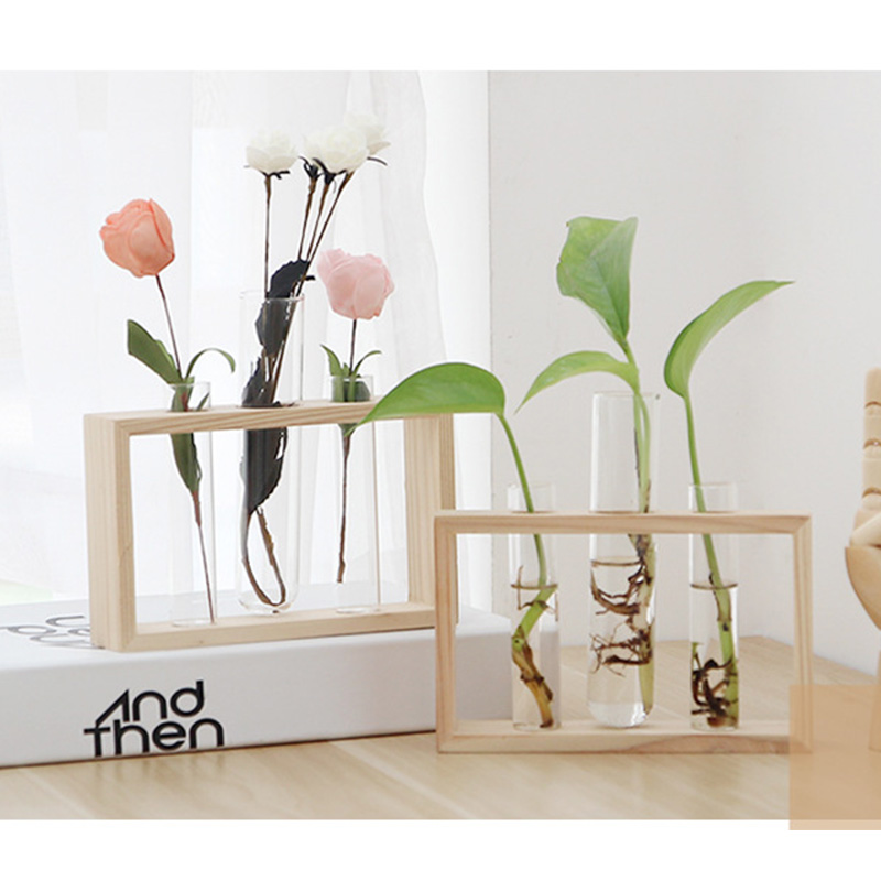 Borosilicate Heat-Resistant Glass Terrarium with Wooden Holder for Growing Hydroponic Plants Indoor 3