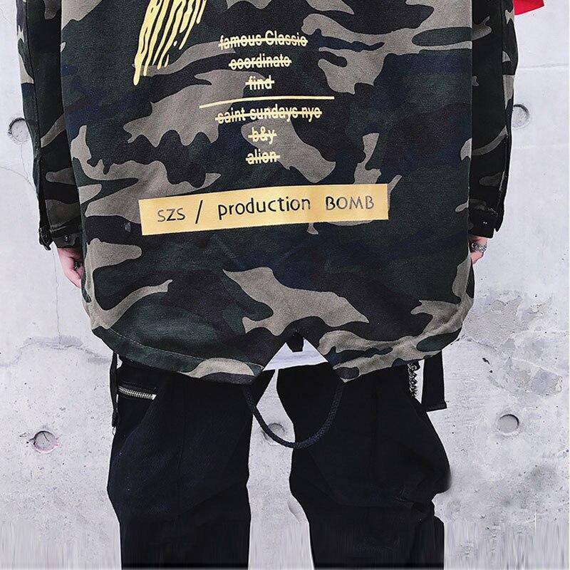 27807855d6765 AELFRIC duże litery X płaszcz kurtka moro czerwony żółty wojskowy bluza z  kapturem wiatrówki Hip Hop kurtki znosić mężczyzn kobiet usa rozmiar s XL  TR01 w ...