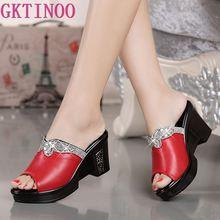 GKTINOO yeni sandalet kadın hakiki deri sandalet kalın topuk terlik kadın platformu takozlar yaz ayakkabı pompaları kadın flip flop