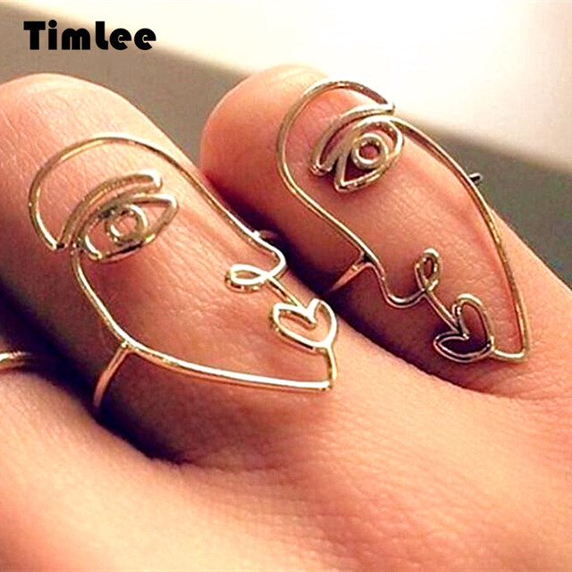 Timlee R032 Free shipping  Fashion Creativity Facebook Alloy Personality Finger Rings Set 2pcs/set  Wholesale .