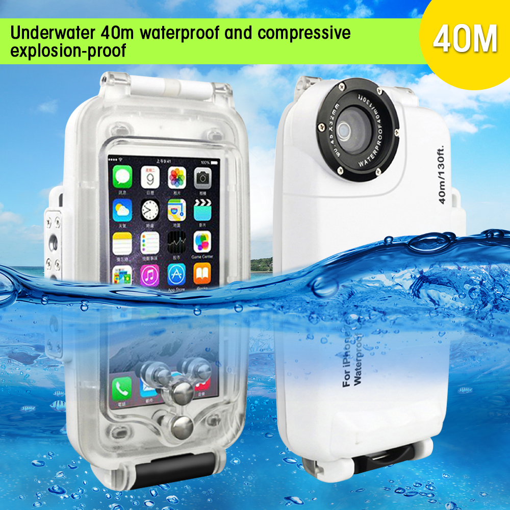 DULCII For IPhone 8 8 Plus Waterproof Case 40m 130ft IPX8 Underwater 40m Anti Compression Diving