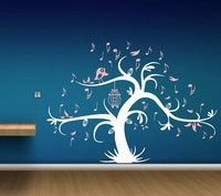 Zm4 Giant Bird Cage Music Tree Wall Stickers Detachable Children Home Decoration Room Decals Bedroom Classic Decorative Decal
