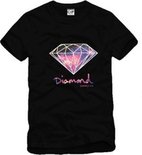 Men's Mens t shirts fashion 2016 Harajuku Purple diamond cotton short-sleeve men t-shirt slim fit casual t shirt men geek GC47
