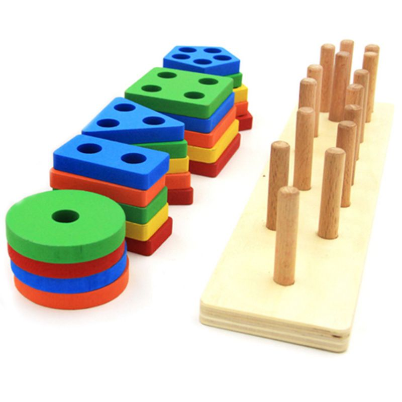 Wooden Educational Shape Color Recognition Geometric Board Stack Sort Chunky Puzzle Toys Birthday Gift Toy for Age 3 4 5 in Blocks from Toys Hobbies