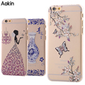 Aokin Pretty lady flowers Bling Phone case For IPhone 7 Plus Hard Plastic Case For IPhone 6 6s Plus 5s SE Drill Back Cover
