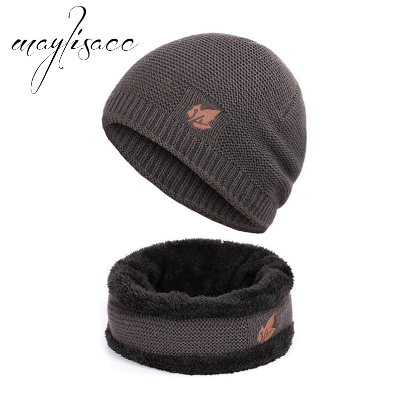 Maylisacc Solid Autumn Winter Warm Knitted Hat With Scarf Ring Fashionable For Men Outdoor Sport Scarves With Hat Set