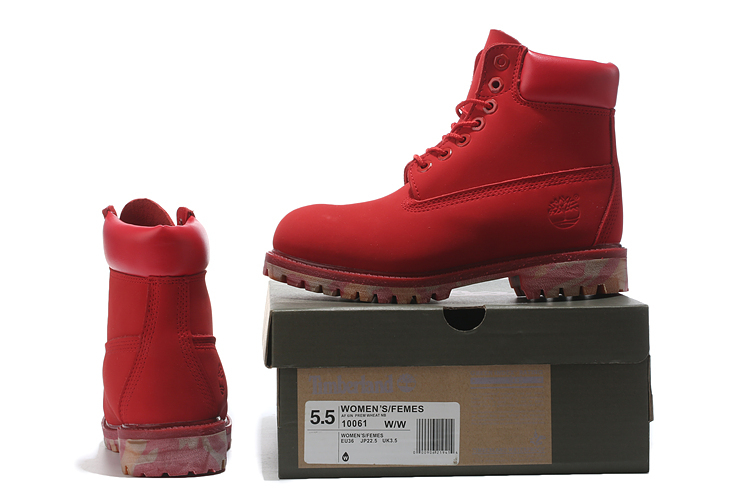 TIMBERLAND Women 10061 Military Camouflage Outdoor Fashion Martin Ankle Boots,Woman Leather Red Street Elegant Casual Shoes  3