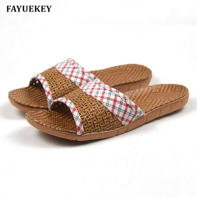 FAYUEKEY 2018 New Summer Fashion Home Linen Breathable Plaid Slippers Women Indoor Floor Beach Slides Girls Gift Flat ShoesFAYUEKEY 2018 New Summer Fashion Home Linen Breathable Plaid Slippers Women Indoor Floor Beach Slides Girls Gift Flat Shoes