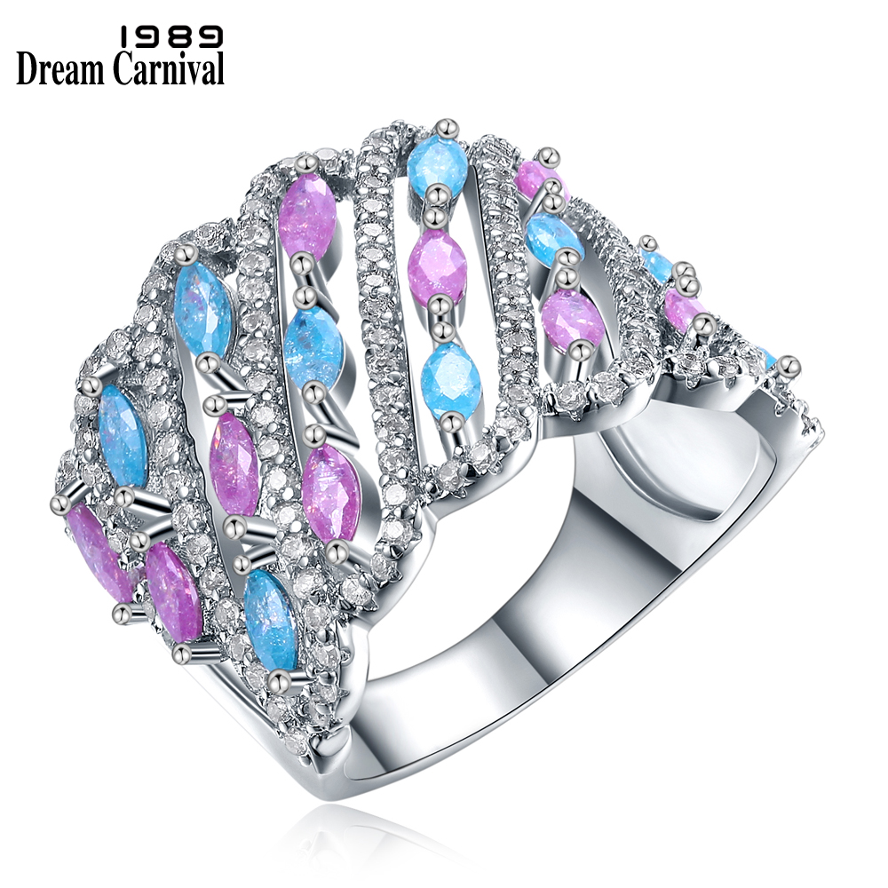 DreamCarnival 1989 Fancy Jewelry Candy Light Blue and Pink Mix Colors Glitter Zircon Cute Anillo Party Rings for Women SJ30053R