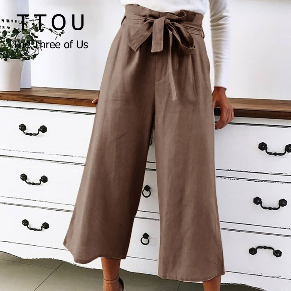 TTOU Women Casual Loose   Wide     Leg     Pants   Female Elegant Fashion Preppy Style Trousers Female Pure Color Ladies Lace Up Bow   Pants