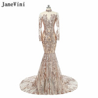 JaneVini Sexy Gold Sequins Long Sleeve Wedding Party Dresses 2018 Illusion High Neck Mermaid Bridesmaid Dresses Long Prom Gowns