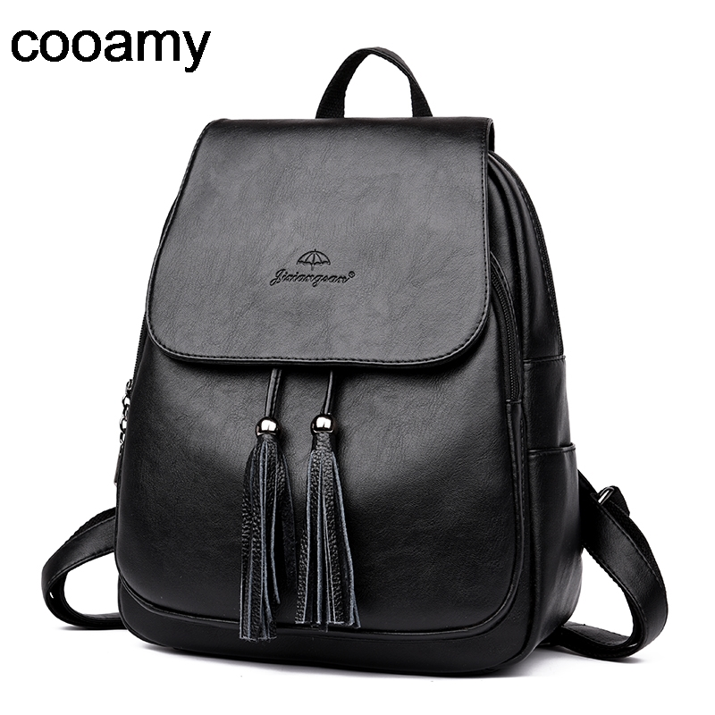 Women Pu Leather Backpacks Tassel Mochila Feminina Rucksack Mochilas Mujer Shoulder School Bags For Teenage Girl Travel Backpack