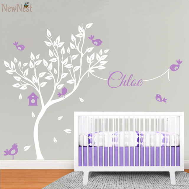 Buy huge white tree wall decal vinyl for Baby nursery tree mural