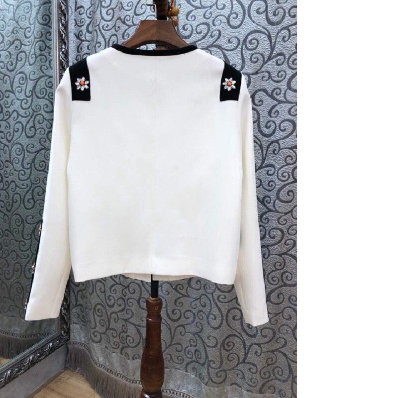 Feminino Veste Femmes Vintage Tops Manches 2019 Casacos Automne Haute Appliques Perles Manteau Printemps Qualité Survêtement Longues 54w0q6