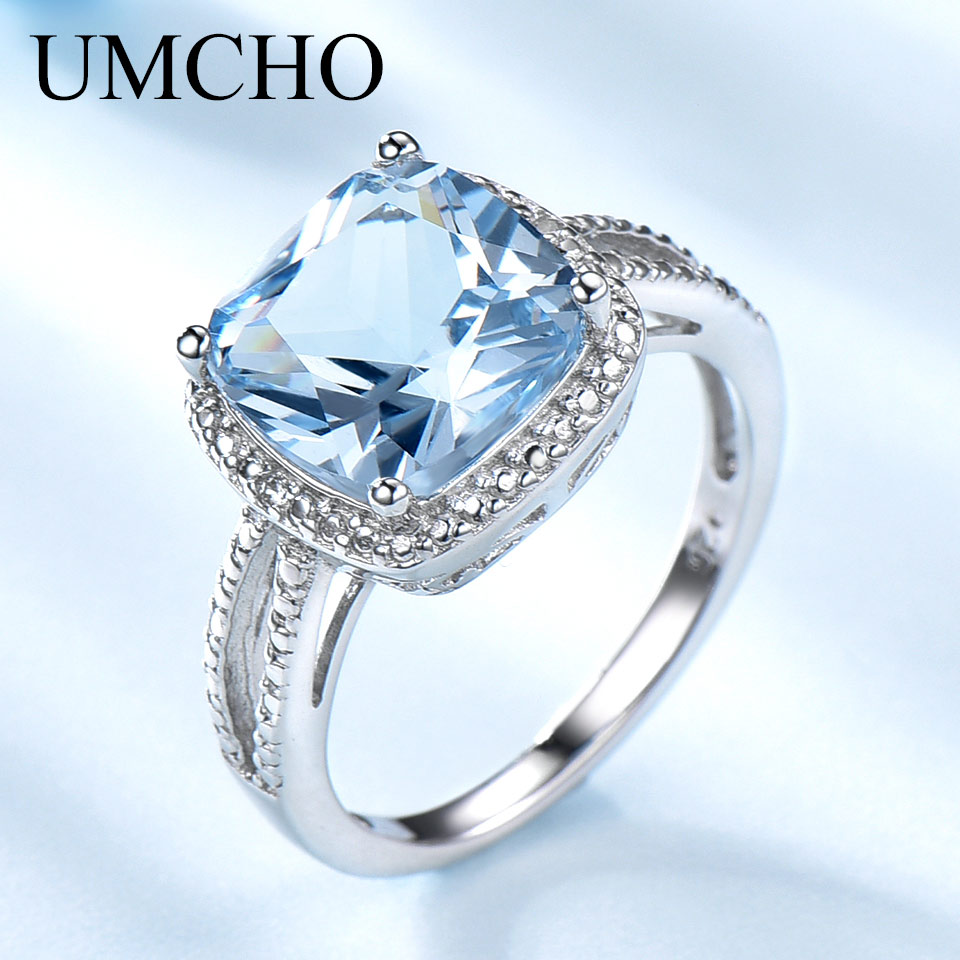 UMCHO Real 925 Sterling Silver Rings For Women Gemstone Aquamarine Sky Blue Topaz Ring Cushion Romantic Gift Engagement JewelryUMCHO Real 925 Sterling Silver Rings For Women Gemstone Aquamarine Sky Blue Topaz Ring Cushion Romantic Gift Engagement Jewelry