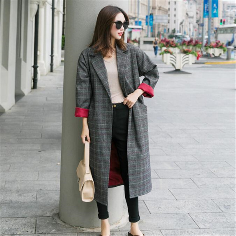 2019 New Autumn Plaid   Trench   Women Classic Blends Plaid Long   Trench   Coat Korean Style Female Outerwear   Trench   Coat For Women