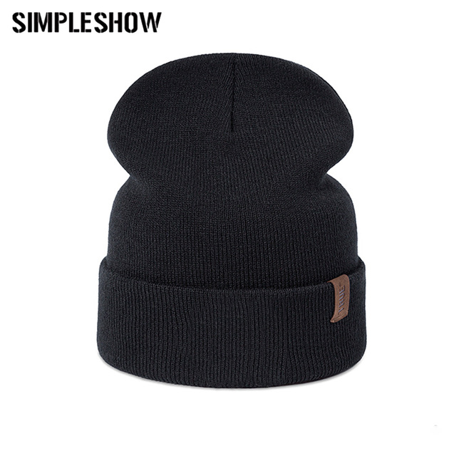 SIMPLESHOW Women's Casual Winter hat Men Knit Plus Velvet Cotton Cap Unisex Adult Letters Skullies Beanies Winter Women Hat