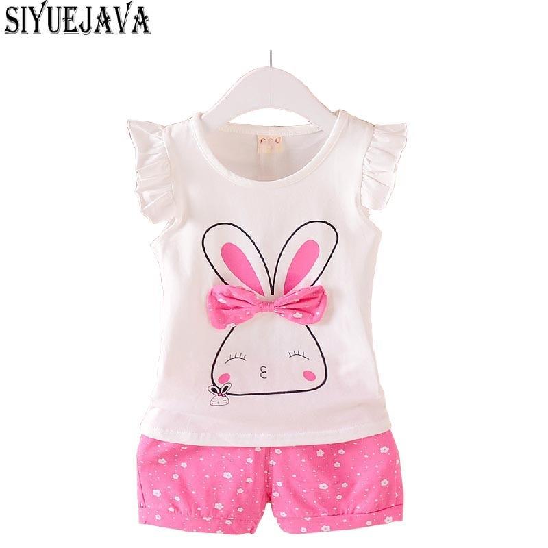 2018 Lolita Baby Clothes for Girls Deer Bebes Short Sleeve Tops+Short 2PCS/Set Rabbit Print Girls Outerwear Baby Rompers Summer